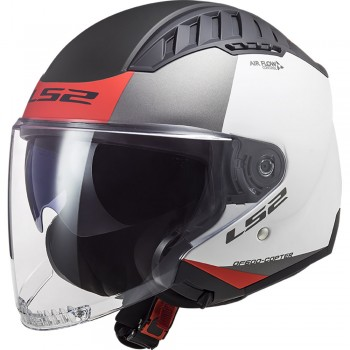 Casque LS2 OF600 Copter Urbane Mat Blanc Rouge