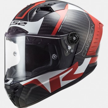 Casque LS2 FF805 Thunder Racing 1 Carbon Rouge Blanc