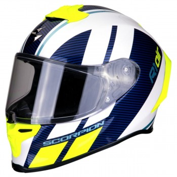 CASQUE INTEGRAL SCORPION EXO-R1 AIR CORPUS JAUNE BLANC BLEU