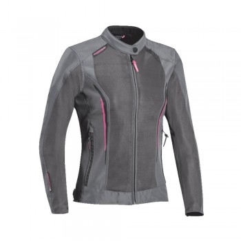 Blouson moto été Ixon Cool Air Lady Gris Rose