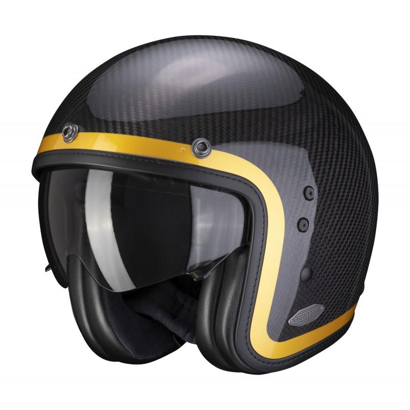 Casque moto Jet Scorpion Belfast Carbon Lofty Noir Or