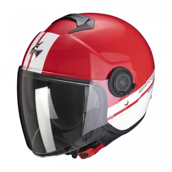 CASQUE JET SCORPION EXO-CITY STRADA ROUGE BLANC