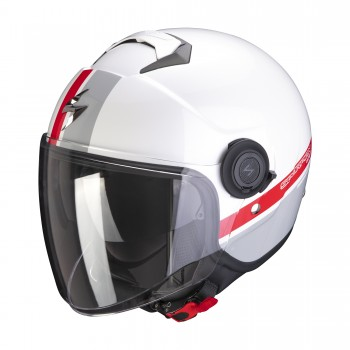 CASQUE JET SCORPION EXO-CITY STRADA BLANC GRIS ROUGE