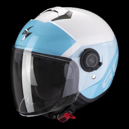 Casque Jet Scorpion Exo-City Sympa Blanc Bleu