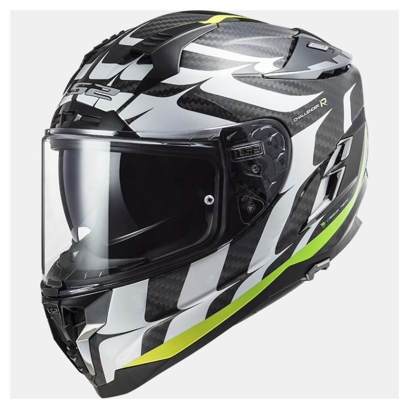 Casque moto adulte Intégral LS2 Challenger Carbon Flame Noir-Blanc