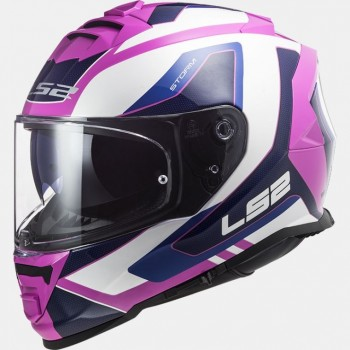 Casque LS2 Storm Techy blanc rose